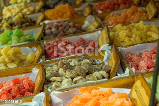 istock Traditional gumdrops displayed in a street market 1040931612