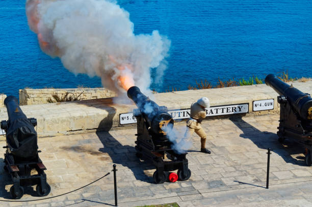 Traditional gunfire at noon in Saluting Battery at Fort Lascaris stock photo