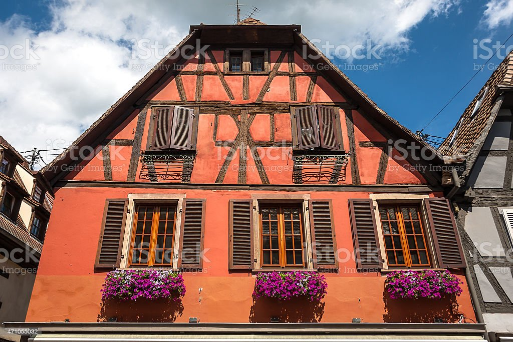 Traditional half-timbered architecture in Obernai, France stock photo
