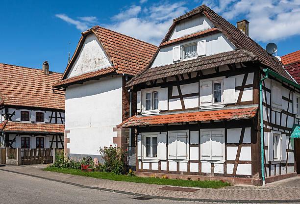 traditional half-timbered houses in the streets of hunspach - hunspach bildbanksfoton och bilder