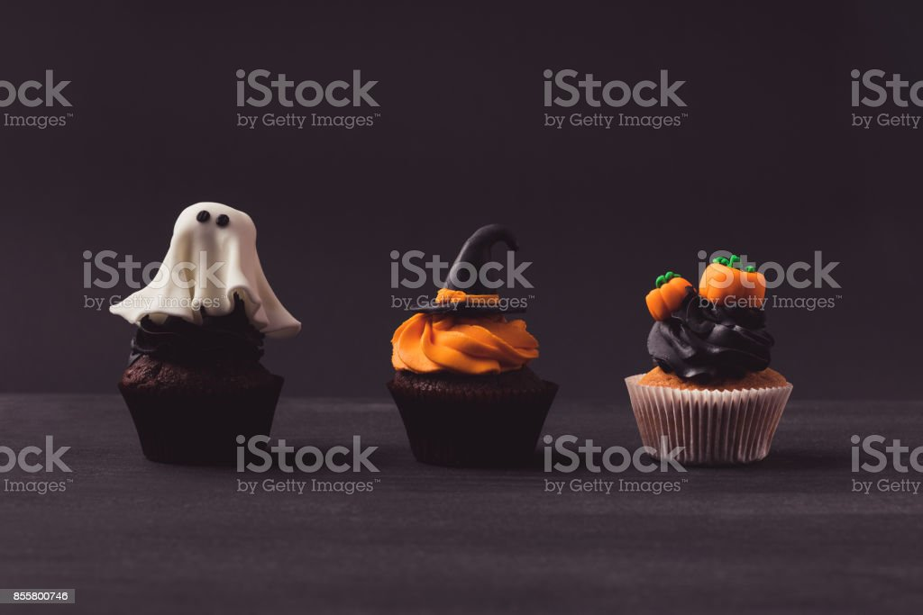 traditional halloween cupcakes stock photo