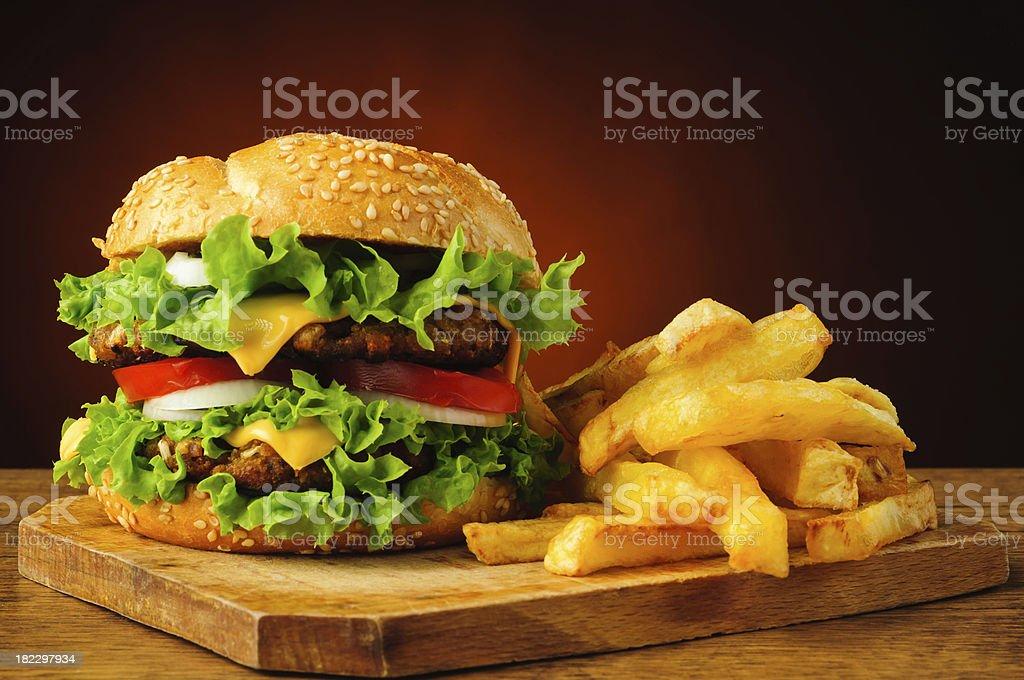 Traditionelle hamburger und Pommes frites – Foto