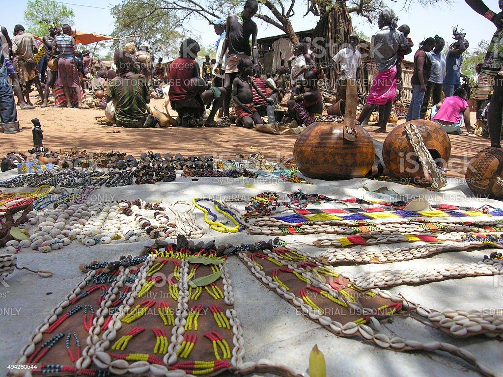 Traditional Hamer market in Dimeka, Valley Omo, Ethiopia. stock photo