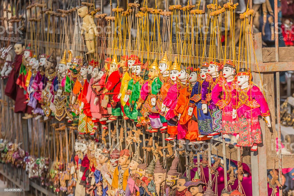 Traditional handicraft puppets are sold in a shop in Bagan stock photo