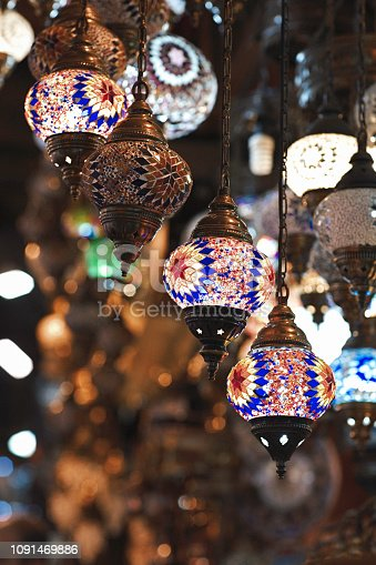Traditional handmade Turkish lamps; Lanterns; Grand Bazaar, Istanbul, Turkey