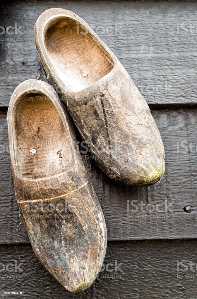 Traditional Handmade Wooden Shoes royalty free stockfoto