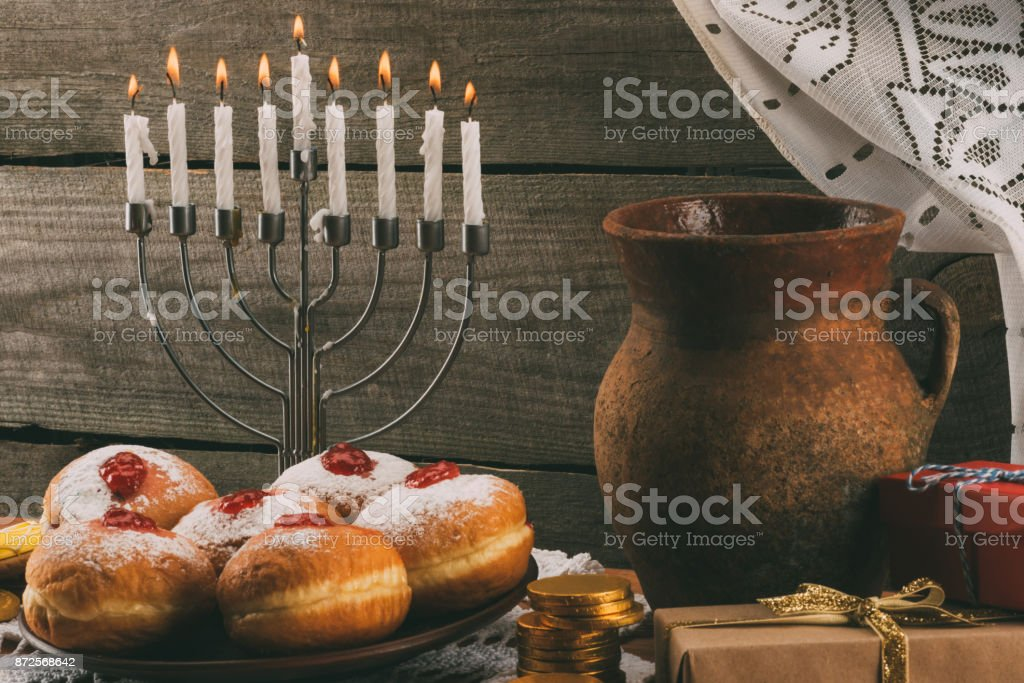 traditional hanukkah celebration stock photo