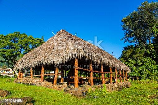 Honolulu, Hawaii, USA - August 12, 2017: Traditional Hawaiian house standing in the park near Honolulu city.
