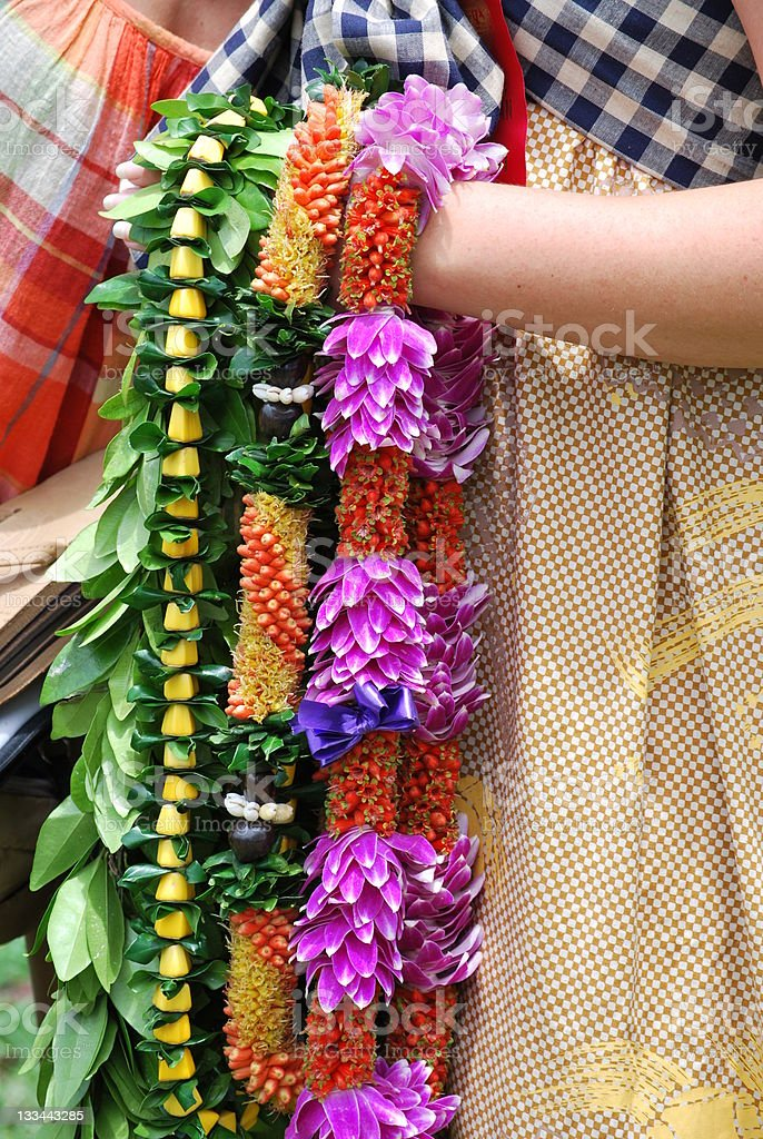 Traditional Hawaiian Leis. stock photo