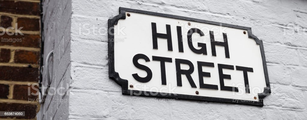 Traditional High Street sign stock photo