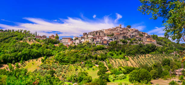 Traditional hill top medieval villages  (borgo) of Italy - picturesque Casperia in Rieti province small traditional village and picturesque countryside lazio stock pictures, royalty-free photos & images