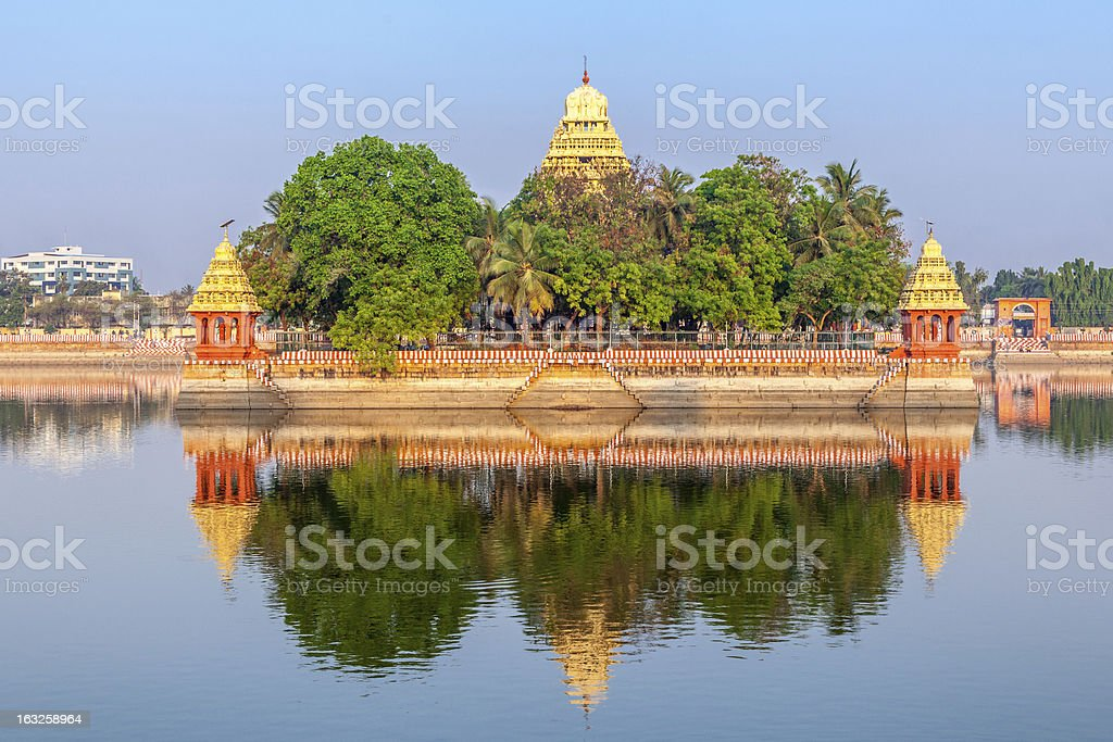 Traditional Hindu temple on lake, Tamil Nadu, India stock photo