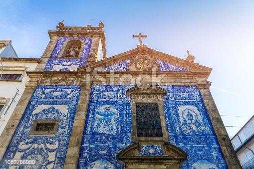 937530990 istock photo Traditional historic facade in Porto decorated with blue hand painted tin-glazed tiles, Oporto, Portugal 1052766980