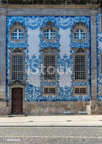 937530990 istock photo Traditional historic facade in Porto decorated with blue hand painted tin-glazed tiles, Oporto, Portugal 1146683446