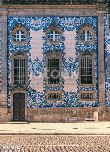 937530990 istock photo Traditional historic facade in Porto decorated with blue hand painted tin-glazed tiles, Oporto, Portugal 978526140