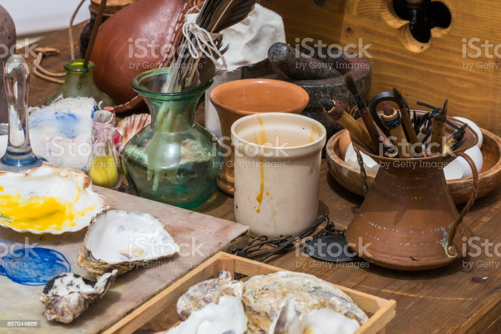 Traditional historical medieval writing tools stock photo