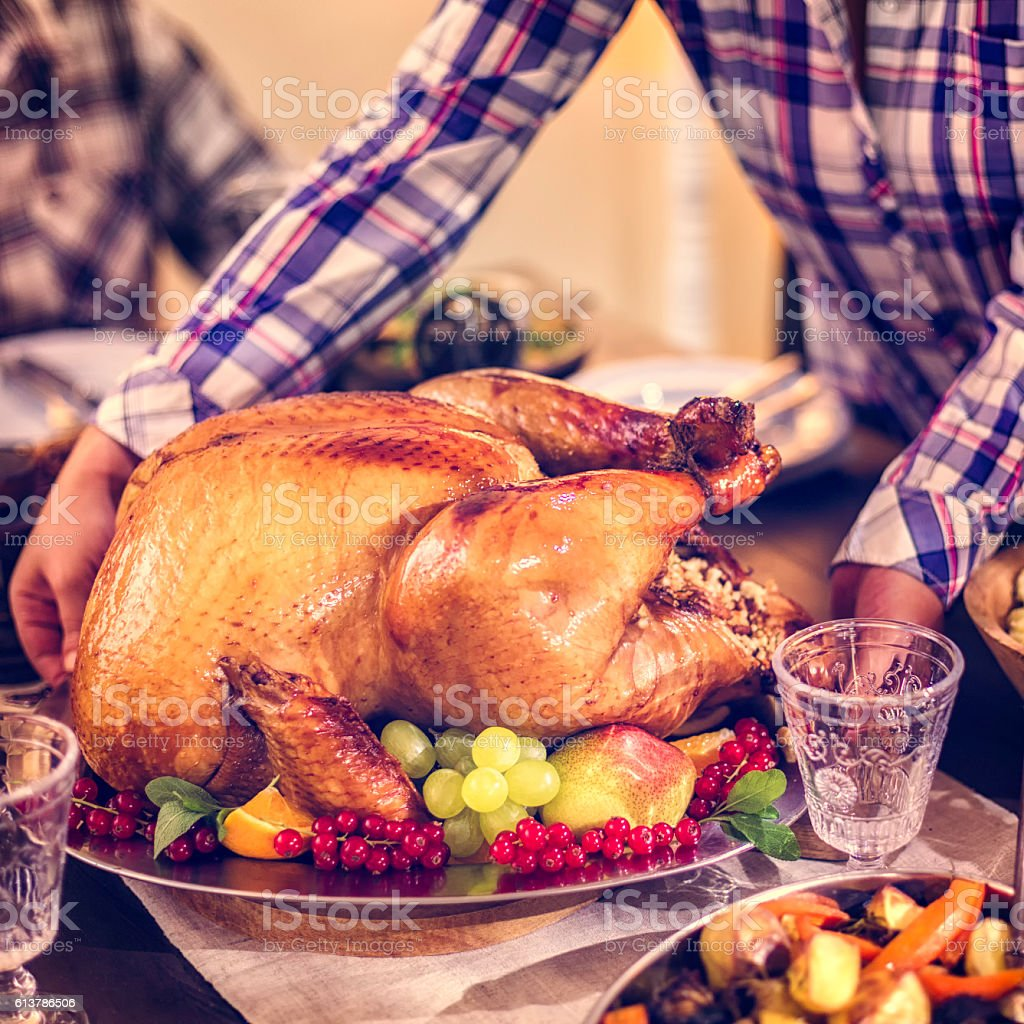 Family having traditional holiday dinner with stuffed turkey, mashed...