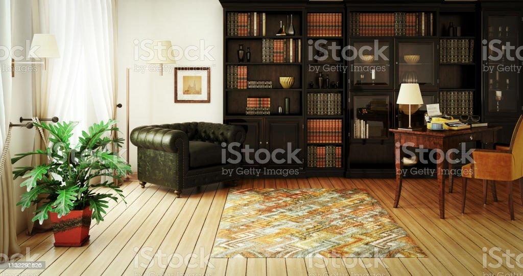 Traditionele Home Library interieur - Royalty-free Apparatuur Stockfoto