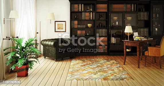 Digitally generated classical home interior (home library) with stylish furniture such as massive bookshelf, home office desk with typewriter and a very comfortable (perfect for reading a good book) Chesterfield armchair.  This digitally generated image was rendered with photorealistic shaders and lighting in Autodesk® 3ds Max 2016 with V-Ray 3.6 and post-processed with a creative film style for more impact and atmospheric mood.