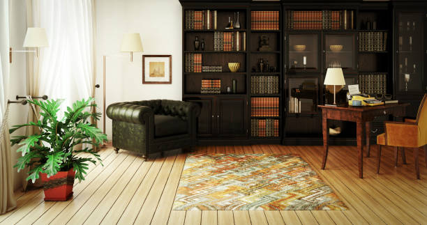 traditional home library interior - estudio imagens e fotografias de stock