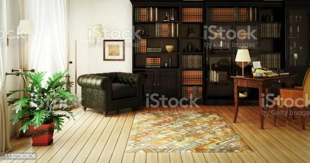 Traditionele Home Library Interieur Stockfoto en meer beelden van Apparatuur