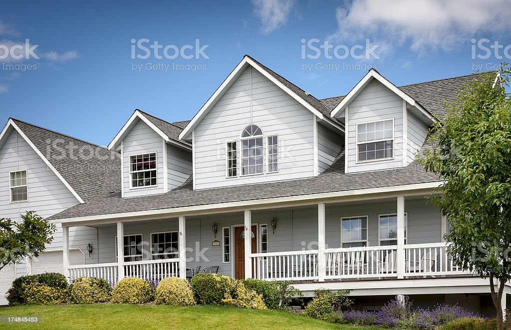 Traditional Home with Front Porch stock photo