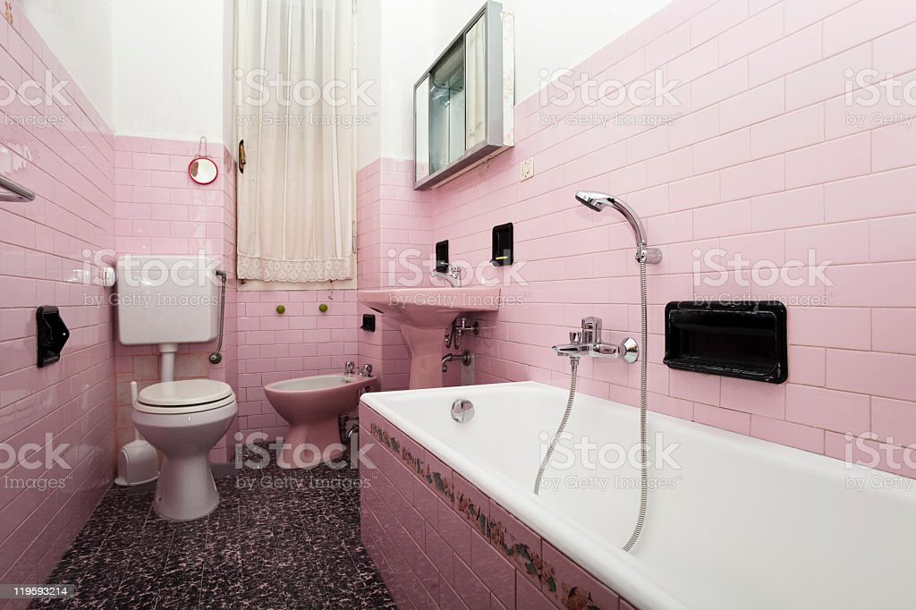 Traditional home with pink bathroom stock photo