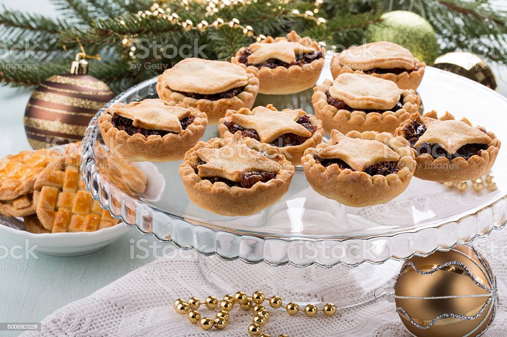 Traditional homemade fruit mince pies stock photo