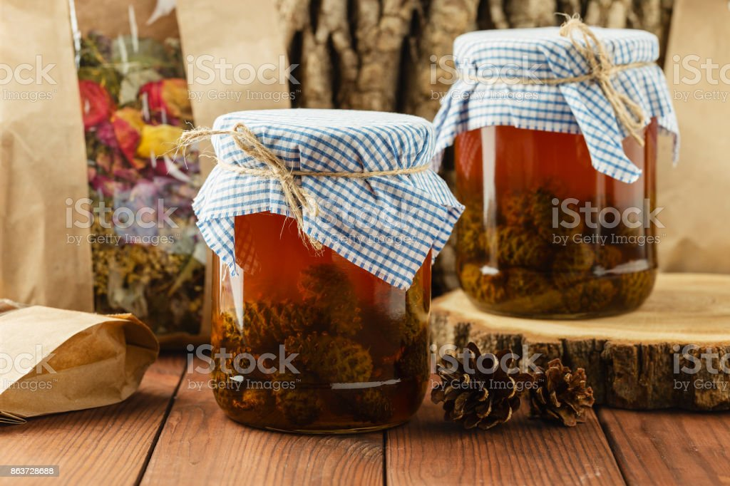 Traditional homemade pine cones jam stock photo