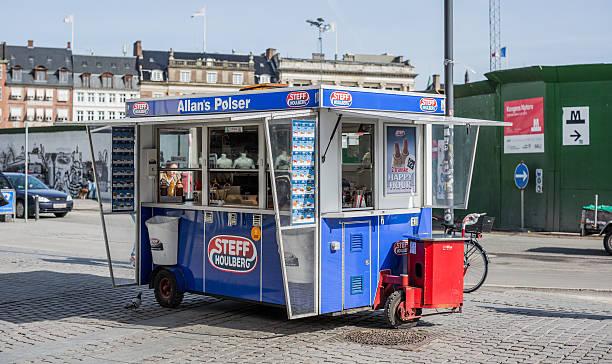 Traditional hot dog stand - pølsevogn - in Copenhagen, Denmark stock photo