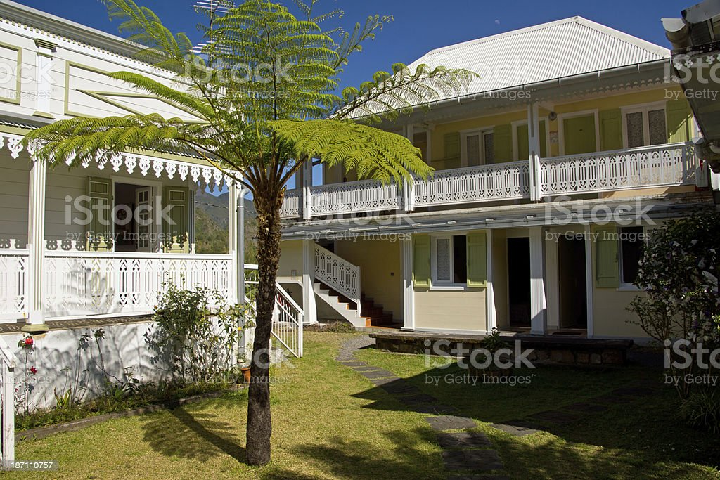 Traditional house at Hell Bourg royalty-free stock photo