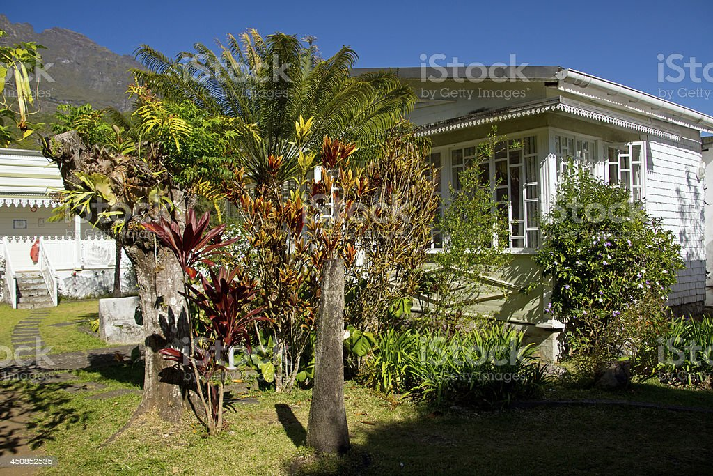 Traditional house at Hell Bourg stock photo