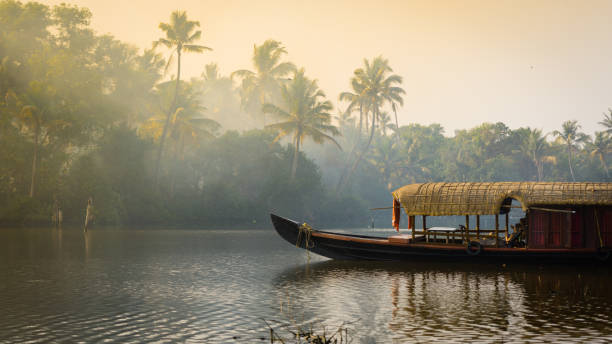Traditional house boat in Kerala, India stock photo