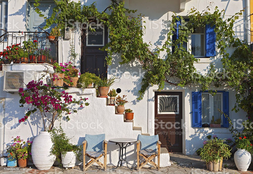 Traditional house in a Greek island stock photo