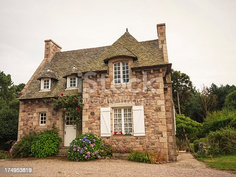 Traditional house in Brittany, France.
