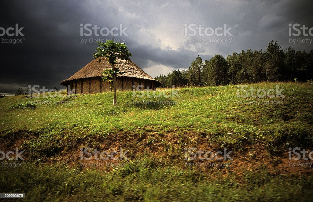Traditional house in Papua New Guinea in the mountains stock photo