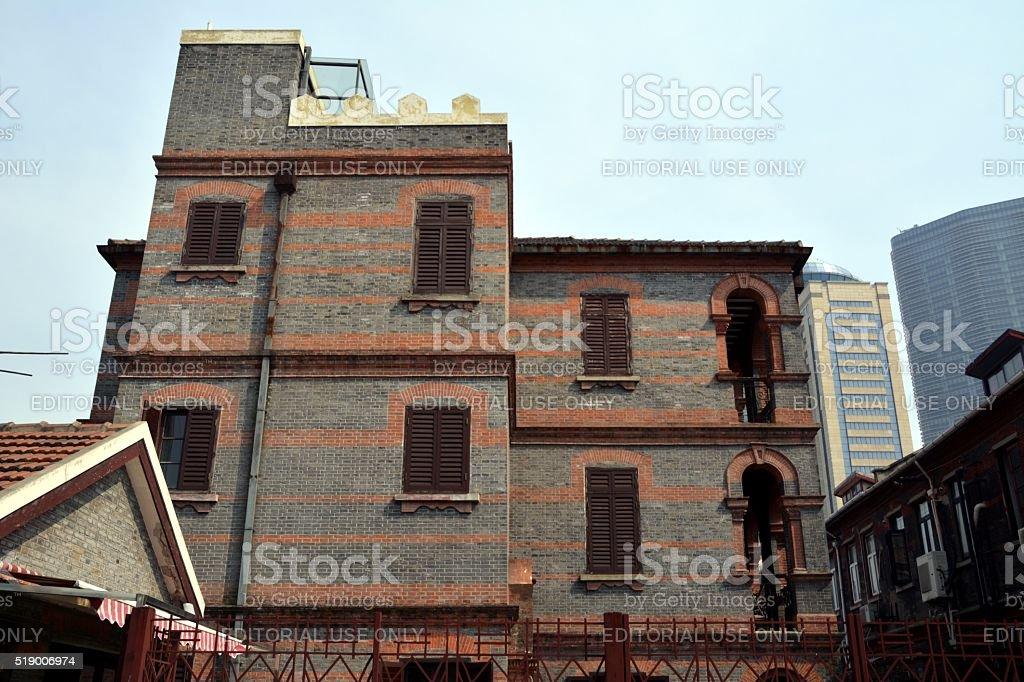 Traditional house in Shanghai jewish quarter, China stock photo