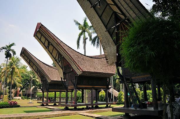 Traditional house in Tana Toraja, Indonesia stock photo