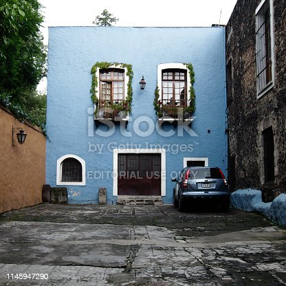 Mexico City, Mexico - 2019: A traditional house in the San Angel district, displaying the typical architectonic style of this neighborhood.