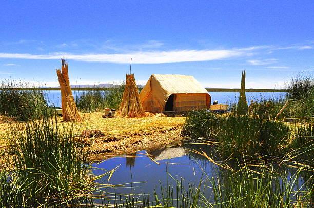 ウル文化ハウスでは、伝統的な島、チチカカ湖 - タキーレ島 ストックフォトと画像