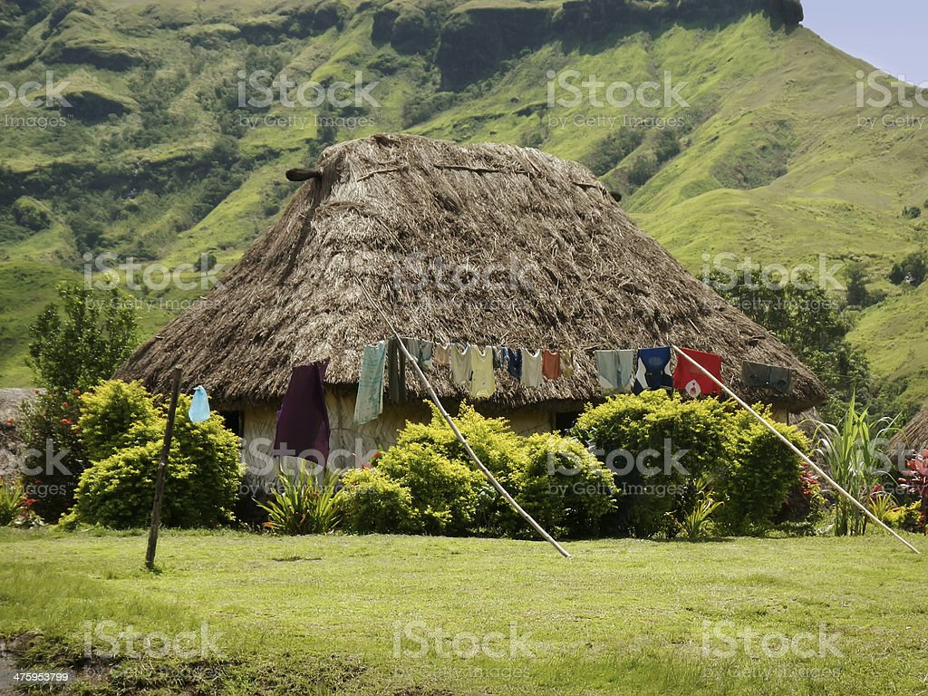 Traditional house of Navala village, Viti Levu, Fiji royalty-free stock photo