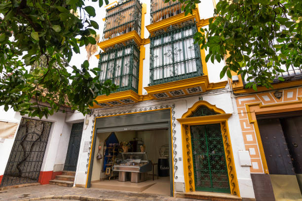 Traditional House, Seville Seville, Spain - October 23, 2018: Seville's old Jewish quarter is a complex network of little streets with a typical Andalusian flavor. Image taken from Plaza de Doña Elvira. santa cruz seville stock pictures, royalty-free photos & images