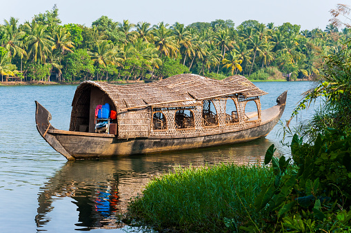 Traditional Houseboat Of Kerala Backwaters On The River Stock Photo - Download Image Now