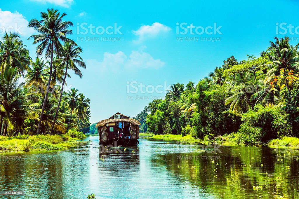 Traditional Houseboat on Kerala Backwaters stock photo