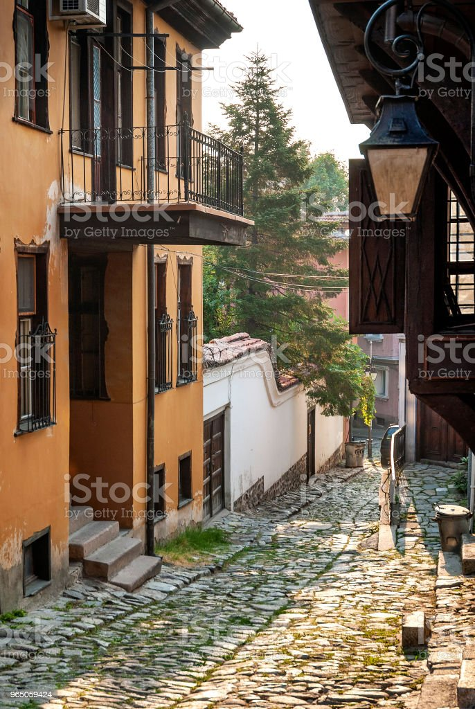 traditional houses and cobbled street in old town of plovdiv bulgaria royalty-free stock photo