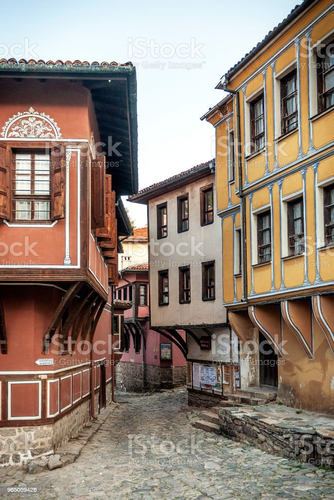 traditional houses and cobbled street in old town of plovdiv bulgaria zbiór zdjęć royalty-free