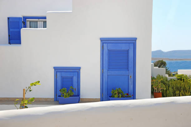 traditional houses at Koufonisia islands Cyclades Greece stock photo