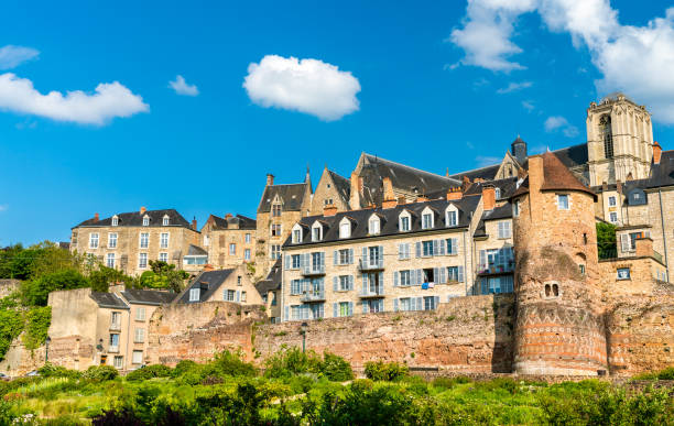 Traditional houses behind the city wall in Le Mans, France stock photo