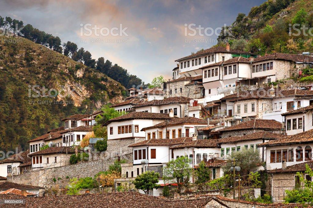 Traditional houses, Berat, Albania. stock photo