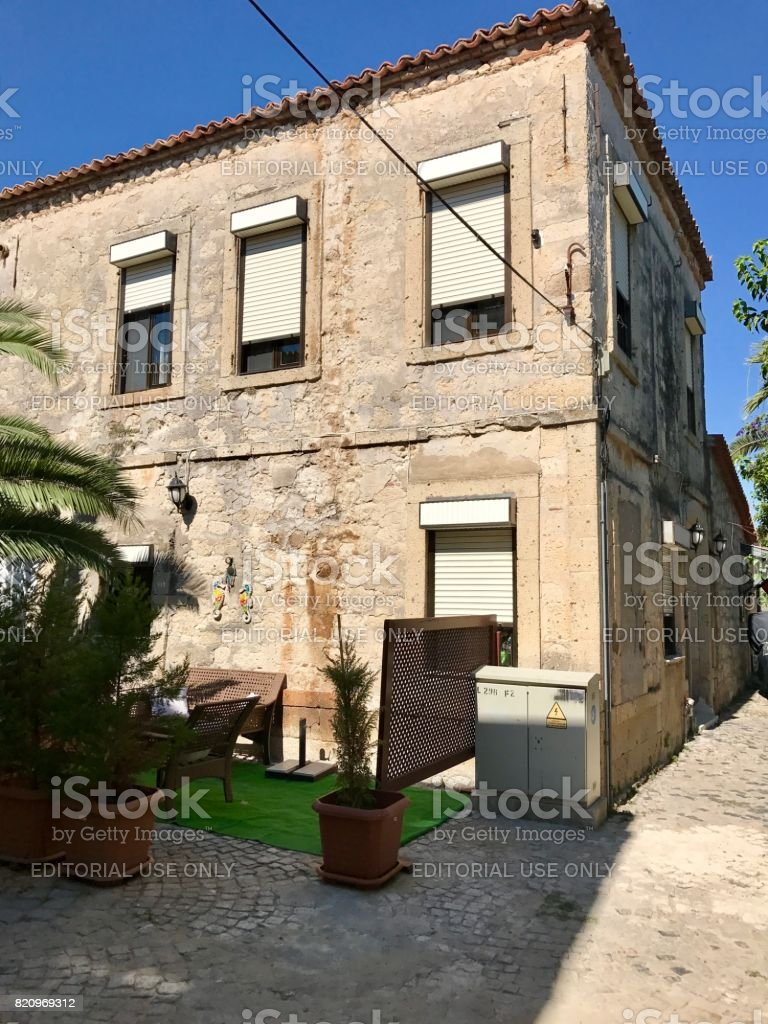 Traditional houses in Alacati Province stock photo